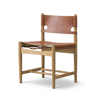 The Spanish Dining Chair Oak Lacquered, Cognac Leather