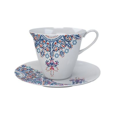 The White Snow Luminarie - Tea Cup with Saucer Set of 6 Porcelain