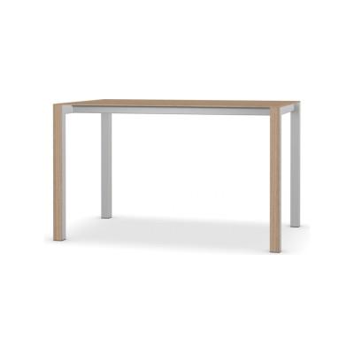 Thin-K Wood Fixed Table Aluminium Grey, Brushed European Oak, 123 x 80, Square