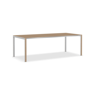 Think-K Longo Wood Table Aluminium Grey, Brushed European Oak, 220 x 100