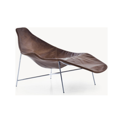 Tia Maria Asymmetric Chaise Lounge B0211 - Leather Oil cirè, Chromed Steel