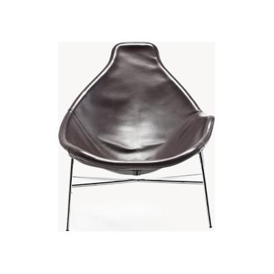 Tia Maria Asymmetric Relax Armchair B0211 - Leather Oil cirè, Chromed Steel