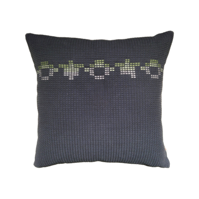 TILLINGHAM organic cotton hand embroidered navy green square