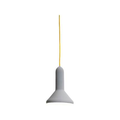 Torch Pendant Light - S1, Cone Signal Grey Shade with Yellow Cable