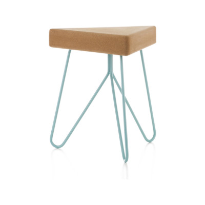 Três stool/table Light Cork with Blue Legs