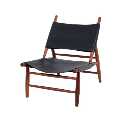 Triangle Chair Wood Soap Finished Walnut, Saddle Leather Black