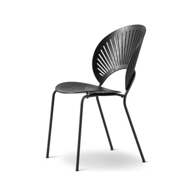 Trinidad Chair Stackable Lacquered Oak, Chrome