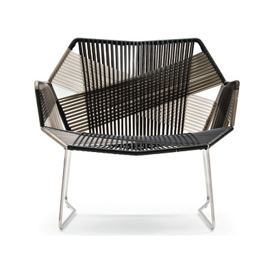 Tropicalia Armchair with Arms Stainless Steel, Faux Leather
