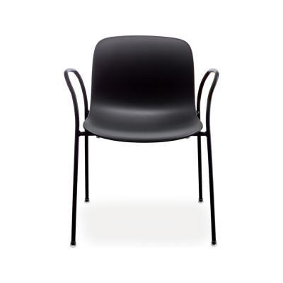 Troy Stacking chair with arms, 4 Legs - Set of 2 Black Frame and Brown Seat