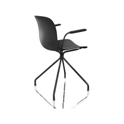 Troy chair with arms - 4 Star Base Black Frame and White Seat, Swivel