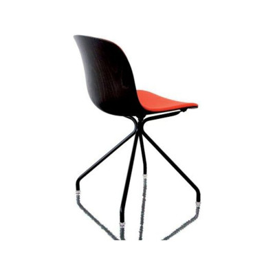 Troy Chair - 4 Star Base with Front Cover Black Frame, Beech Stained Black Seat, Plywood, Magis Leather Nero Black 795, Swivel