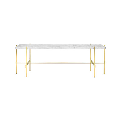 TS Rectangular Console Table with One Marble Plate White Top and Brass Frame