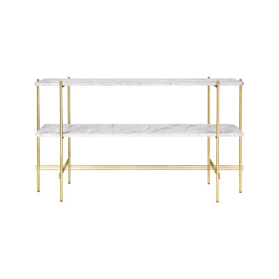 TS Rectangular Console Table with Two Marble Plates Frame Brass, Gubi Marble Nero Marquina