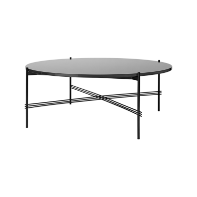 TS Round Coffee Table with Glass Top - Black Frame Graphite Black Top and Black Frame, Ø 105 x 40 cm