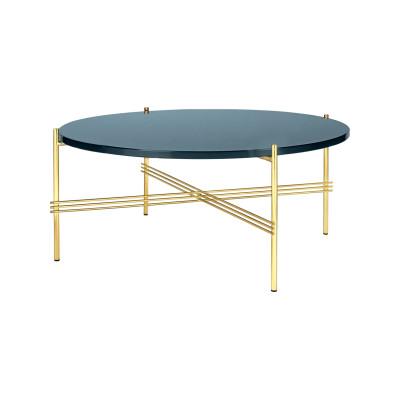 TS Round Coffee Table with Glass Top - Brass Frame Gubi Glass Grey Blue, Gubi Metal Brass, Ø80x35 cm