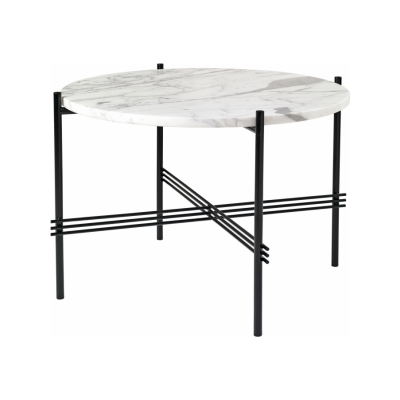 TS Round Coffee Table with Marble Top Gubi Marble Bianco Carrara, Gubi Metal Black, Ø 55 x 41 cm