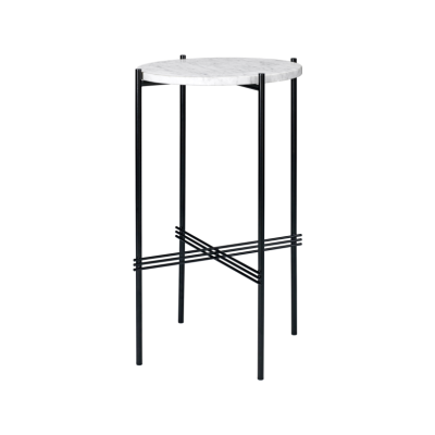 TS Round Console Table with Marble Top Gubi Marble Grey Emperador, Gubi Metal Brass