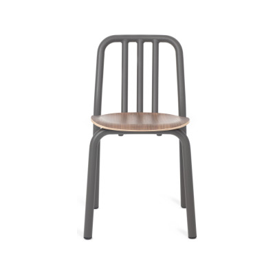 Tube Wooden Dining Chair Anthracite Grey, Varnished Walnut