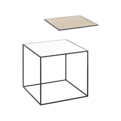 Twin Table - Square White & Oak, 35 x 35 cm, Black Frame