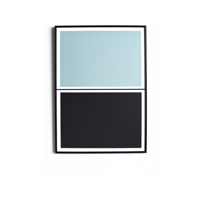 Twin Tone Play Screen Print - Feather Blue & Soot Black With Frame