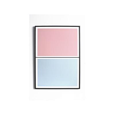 Twin Tone Play Screen Print - Granite Pink & Drift Blue With Frame