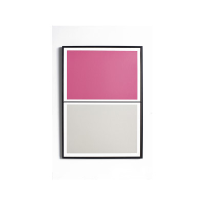 Twin Tone Play Screen Print - Peony Pink & Smith Grey With Frame