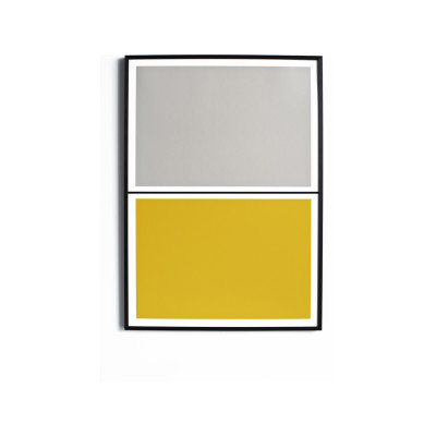 Twin Tone Play Screen Print - Smith Grey & Morning Yellow With Frame