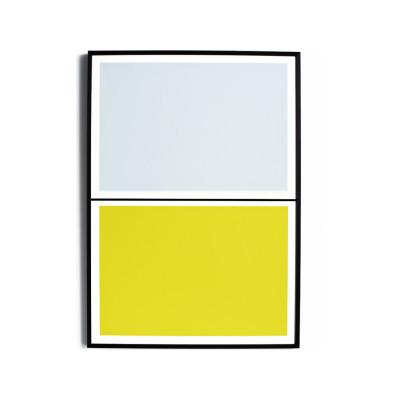 Twin Tone Play Screen Print - Yuzu Yellow & Drift Blue With Frame