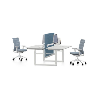 Tyde Meeting Table 320 x 140, Rectangular melamine soft light, with 2x cable outlets PORT - aluminium soft light powder-coated / plastic soft light, 1x Current Module power, 1x Current Module power, white powder-coated, not provided, polyester fleece green, not provided