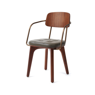 Utility Armchair V Wood Black Ash, Caress Peach