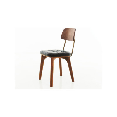 Utility Dining Chair V Wood Walnut Stained Ash, Caress Black
