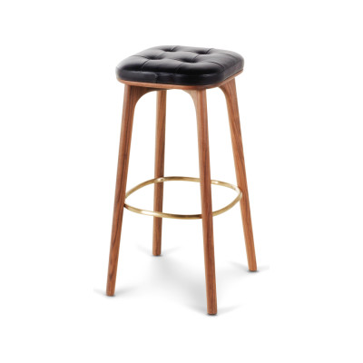 Utility Stool with Footrest Wood Black Ash, Caress Peach, 76