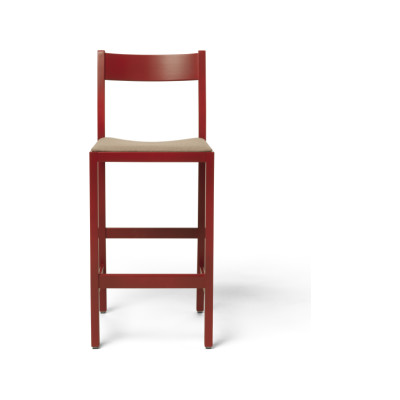 Waiter Bar Stool, Upholstered 57004-0000 Lido-Indigo, Red Lacquered Beech