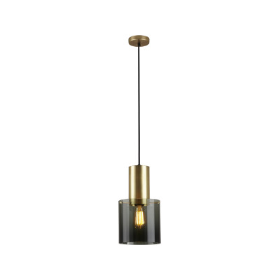 Walter Pendant Light Anthracite Glass & Brass, Large