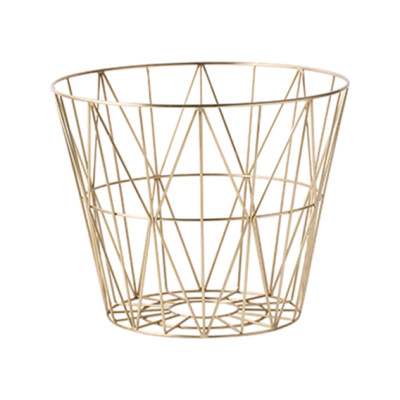 Wire Basket - Set of 4 Small, Brass