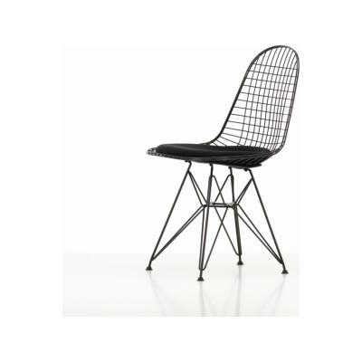 Wire Chair DKR 5 01 chrome, 04 basic dark for carpet, Hopsak 71 yellow/pastel green