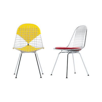 Wire Chair DKX 2 01 chrome, 04 basic dark for carpet, Hopsak 71 yellow/pastel green