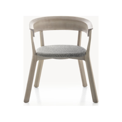 Wood Bikini Dining Chair with seat upholstered, back in wood A7870 - Elastic 2 Pitch Pearl, Ash Natural