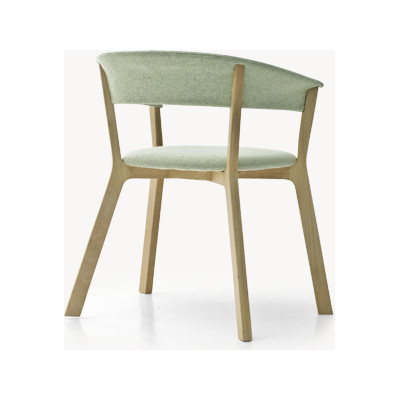Wood Bikini Dining Chair with Upholstered Seat A5081 - Elastic 1 Uniform Melange Hydro, Ash Natural
