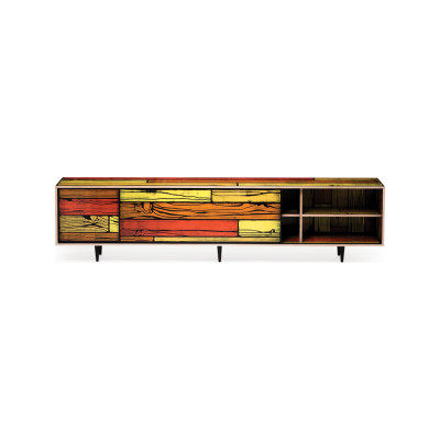 Wrongwoods Low Cabinet - L260 Yellow with Red