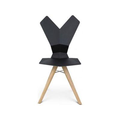 Y Chair Wood Base TD Natural Oak, Black Seat