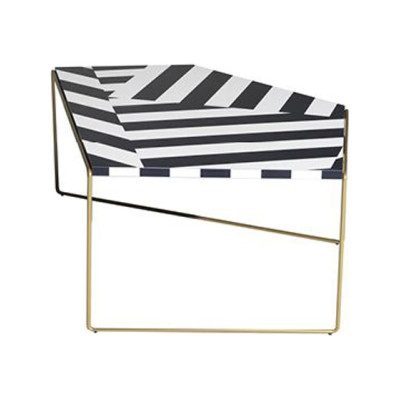 Zagazig Coffee Table White and black striped pattern, 87