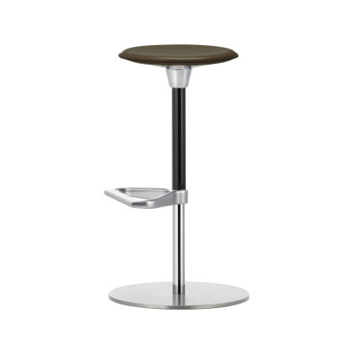 Zeb Stool Leather Leather Liso 66 nero, 01 chrome