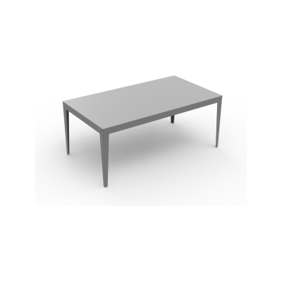 Zef Steel Rectangular Table 180x90 White - 01 RAL 9016, Straight Legs, Yes