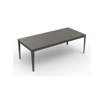 Zef Steel Rectangular Table 220x100 No, Matt Varnish Galva - 28 RAL NA, Tapered Legs
