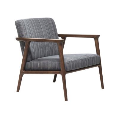 Zio Lounge Chair Arredo Leather Black, White Washed & Cinnamon