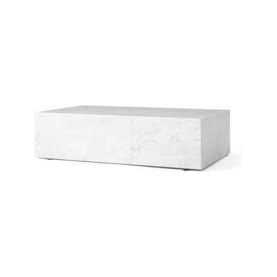 Plinth Low Coffee Table White Marble