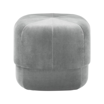 Circus Pouf Velour Grey, Small