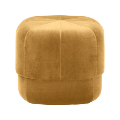 Circus Pouf Velour Yellow, Small