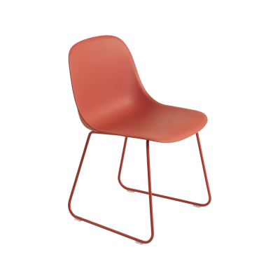 Fiber Side Chair Sled Base Dusty Red / Dusty Red